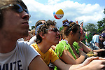 A reveler wears a yarmulke at the Pitchfork Music Festival in Union Park in Chicago, Illinois on July 19, 2009.