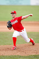 June 21, 2009:  Pitcher Daniel Calhoun of the Batavia Muckdogs delivers a pitch during a game at Dwyer Stadium in Batavia, NY.  The Muckdogs are the NY-Penn League Short-Season Class-A affiliate of the St. Louis Cardinals.  Photo by:  Mike Janes/Four Seam Images