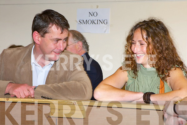 Fine Gael TD Tom Sheahan and Sinn Fein's Lynn Ni? Bhaoighealla?in share a light-hearted moment at the South Kerry Lisbon Treaty count in the Aras Padraig Killarney on Friday   Copyright Kerry's Eye 2008