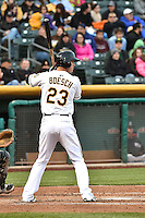 Brennan Boesch (23) of the Salt Lake Bees at bat against the Sacramento River Cats at Smith's Ballpark on April 3, 2014 in Salt Lake City, Utah.  (Stephen Smith/Four Seam Images)