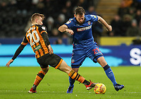 Bolton Wanderers' Jonathan Grounds competing with Hull City's Jarrod Bowen<br /> <br /> Photographer Andrew Kearns/CameraSport<br /> <br /> The EFL Sky Bet Championship - Hull City v Bolton Wanderers - Tuesday 1st January 2019 - KC Stadium - Hull<br /> <br /> World Copyright © 2019 CameraSport. All rights reserved. 43 Linden Ave. Countesthorpe. Leicester. England. LE8 5PG - Tel: +44 (0) 116 277 4147 - admin@camerasport.com - www.camerasport.com