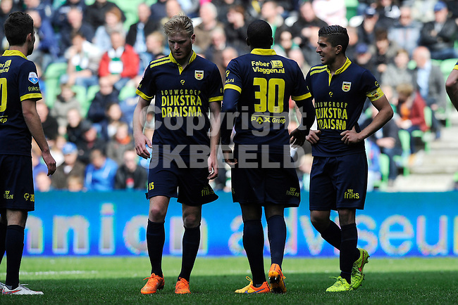 GRONINGEN - Voetbal, FC Groningen - SC Cambuur, Eredivisie, Euroborg, seizoen 2014-2015, 12-04-2015,  teleurstelling bij Cambuur