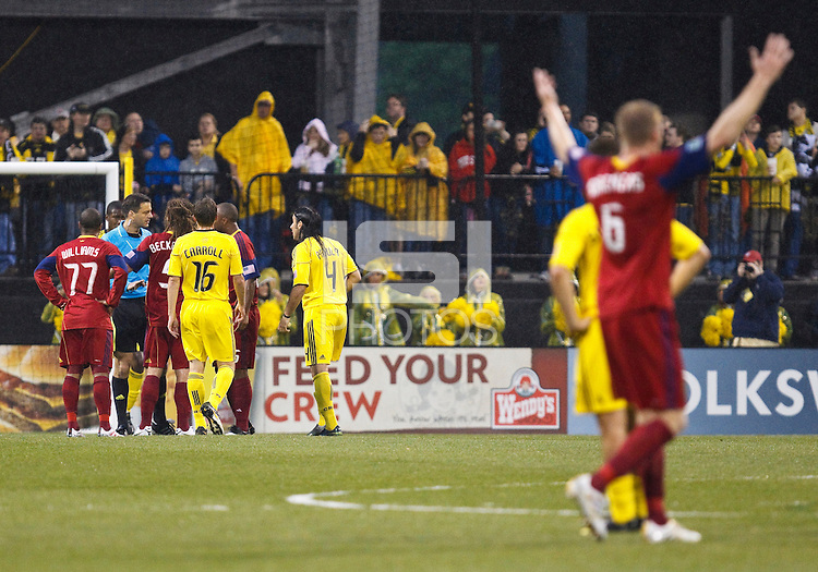 24 APRIL 2010:  Real Salt Lakes' Kyle Beckerman (5) questions referee Steven DePiero during the Real Salt Lake at Columbus Crew MLS soccer game in Columbus, Ohio. Columbus Crew defeated RSL 1-0 on April 24, 2010.
