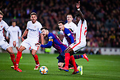 30th January 2019, Camp Nou, Barcelona, Spain; Copa del Rey football, quarter final, second leg, Barcelona versus Sevilla; Promes of Sevilla CF trips Lionel Messi of FC Barcelona for the penalty