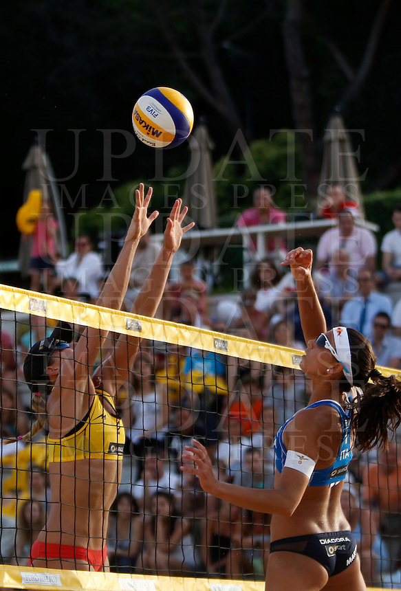 Australia's Louise Bawden in action against Italy's Marta Menegatti at the Beach Volleyball World Tour Grand Slam, Foro Italico, Rome, 21 June 2013.<br /> UPDATE IMAGES PRESS/Isabella Bonotto