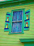 Window and painted shutters on a Newport house along Thames St. in Newport, R.I. (Photo/Joe Giblin) no release