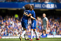 Chelsea's Cesc Fabregas celebrates scoring the opening goal with team mate David Luiz     <br /> <br /> <br /> Photographer Craig Mercer/CameraSport<br /> <br /> The Premier League - Chelsea v Everton - Sunday 27th August 2017 - Stamford Bridge - London<br /> <br /> World Copyright &copy; 2017 CameraSport. All rights reserved. 43 Linden Ave. Countesthorpe. Leicester. England. LE8 5PG - Tel: +44 (0) 116 277 4147 - admin@camerasport.com - www.camerasport.com