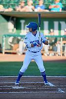 Matt Cogen (49) of the Ogden Raptors bats against the Grand Junction Rockies at Lindquist Field on June 25, 2018 in Ogden, Utah. The Raptors defeated the Rockies 5-3. (Stephen Smith/Four Seam Images)