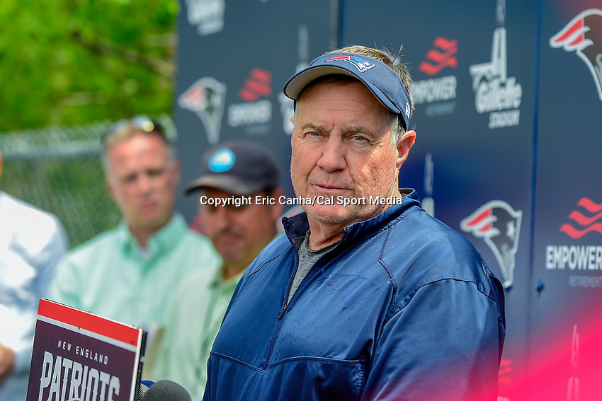 June 7, 2018: New England Patriots head coach Bill Belichick speaks to the media at the team's mini camp held on the practice fields at Gillette Stadium, in Foxborough, Massachusetts. Eric Canha/CSM