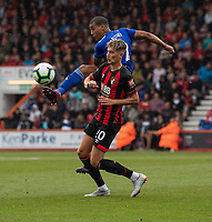 Cardiff City's Lee Peltier (right) battles with Bournemouth's David Brooks (left) <br /> <br /> Photographer David Horton/CameraSport<br /> <br /> The Premier League - Bournemouth v Cardiff City - Saturday August 11th 2018 - Vitality Stadium - Bournemouth<br /> <br /> World Copyright &copy; 2018 CameraSport. All rights reserved. 43 Linden Ave. Countesthorpe. Leicester. England. LE8 5PG - Tel: +44 (0) 116 277 4147 - admin@camerasport.com - www.camerasport.com