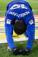 Nathaniel Mendez-Laing of Cardiff City on his knees during the Sky Bet Championship match between Cardiff City and Hull City at the Cardiff City Stadium, Cardiff, Wales on 16 December 2017. Photo by Mark  Hawkins / PRiME Media Images.