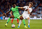 CD Leganes's Kenneth Omeruo and Real Madrid CF's Luka Modric during La Liga match. Oct 30, 2019. (ALTERPHOTOS/Manu R.B.)