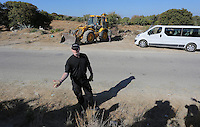 Pictured: Detective Inspector Jon Cousins of South Yorkshire Police shows some ancient fragments discovered during the search at the new site in Kos, Greece. Friday 07 October 2016<br /> Re: Police teams led by South Yorkshire Police, searching for missing toddler Ben Needham on the Greek island of Kos have moved to a new area in the field they are searching.<br /> Ben, from Sheffield, was 21 months old when he disappeared on 24 July 1991 during a family holiday.<br /> Digging has begun at a new site after a fresh line of inquiry suggested he could have been crushed by a digger.