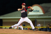 Batavia Muckdogs pitcher LJ Brewster (33) delivers a pitch during a game against the Mahoning Valley Scrappers on July 3, 2015 at Dwyer Stadium in Batavia, New York.  Batavia defeated Mahoning Valley 7-4.  (Mike Janes/Four Seam Images)