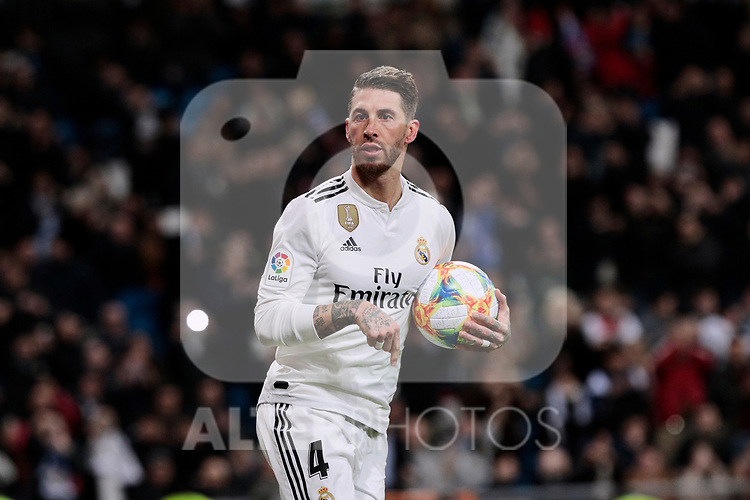Real Madrid's Sergio Ramos celebrates goal during Copa del Rey match between Real Madrid and Girona FC at Santiago Bernabeu Stadium in Madrid, Spain. January 24, 2019. (ALTERPHOTOS/A. Perez Meca)