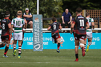 Jordan Williams of Dragons (9) breaks free to score a try during the Friendly match between Ealing Trailfinders and Dragons  at Castle Bar , West Ealing , England  on 11 August 2018. Photo by David Horn / PRiME Media Images.