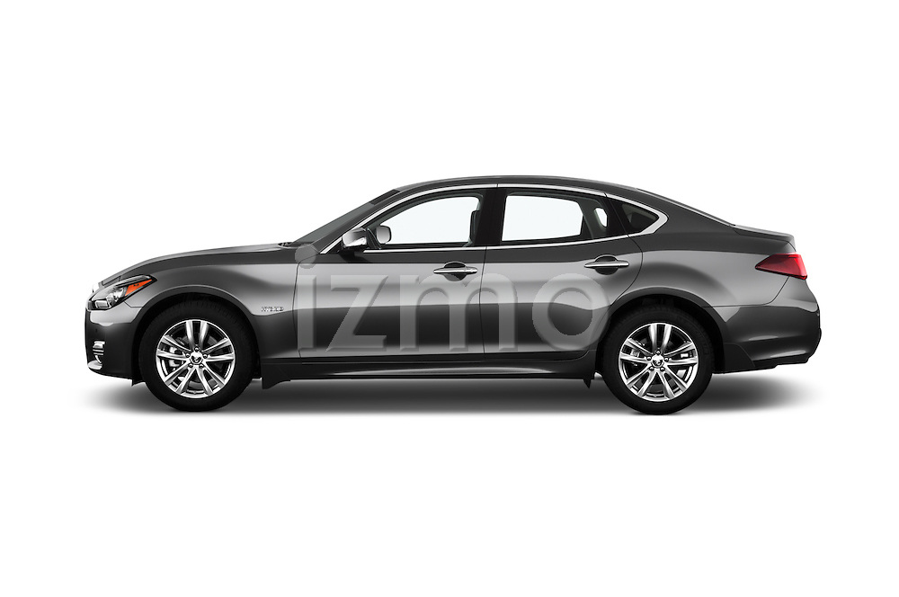 Car Driver side profile view of a 2016 Infiniti Q70 Hybrid 4 Door Sedan Side View