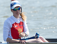 Brandenburg. GERMANY.<br /> RUS W8+. cox Ksenia VOLKOVA, 2016 European Rowing Championships at the Regattastrecke Beetzsee<br /> <br /> Friday  06/05/2016<br /> <br /> [Mandatory Credit; Peter SPURRIER/Intersport-images]