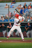 Auburn Doubledays left fielder Jonathan Pryor (7) at bat during a game against the Connecticut Tigers on August 9, 2017 at Falcon Park in Auburn, New York.  Connecticut defeated Auburn 6-4.  (Mike Janes/Four Seam Images)