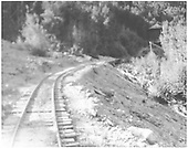Ascending RGS grade to Vance Junction viewed from the rear of Barriger's special train.<br /> RGS  near Vance Junction, CO  7/3/1938