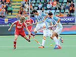 The Hague, Netherlands, June 15: Ashley Jackson #7 of England, Matias Rey #22 of Argentina and Juan Ignacio Gilardi #4 of Argentina in action during the field hockey bronze match (Men) between Argentina and England on June 15, 2014 during the World Cup 2014 at Kyocera Stadium in The Hague, Netherlands. Final score 2-0 (0-0)  (Photo by Dirk Markgraf / www.265-images.com) *** Local caption ***