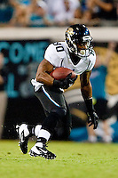 August 19, 2011:   Jacksonville Jaguars wide receiver Mike Thomas (80) runs after catching a pass during pre season action between the Jacksonville Jaguars and the Atlanta Falcons at EverBank Field in Jacksonville, Florida.   Jacksonville defeated the Falcons 15-13.........