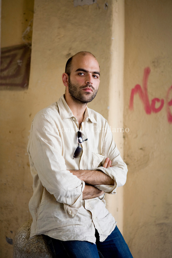 Mantova, Italy, 2006. Roberto Saviano, Italian writer and journalist, author of 'Gomorra'.