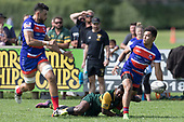 Joshua Gray looks to pass to Damon Leasuasu as he is tackled bu Vili Sabani. Counties Manukau Premier Counties Power Game of the Week Club Rugby Round 4 game between Pukekohe and Ardmore Marist, played at Colin Lawrie Fields Pukekohe on Friday March 30th 2018.<br /> Ardmore Marist won the game 27 - 21 after leading 13 - 11 at halftime.<br /> Pukekohe Mitre 10 Mega 21 -Trent White, Samu Pailegutu tries, Sione Fifita conversion, Sione Fifita 2, Vilitati Sabani penalties. Ardmore Marist South Auckland Motors 27 - Katetistoti Nginingini, Karl Ropati, Alefosio Tapili tries, Latiume Fosita 3 conversions, Latiume Fosita 2 penalties. <br /> Photo by Richard Spranger.
