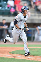 Pulaski Yankees second baseman Gosuke Katoh (28) runs to first during a game against the Greeneville Astros on July 11, 2015 in Greeneville, Tennessee. The Yankees defeated the Astros 9-3. (Tony Farlow/Four Seam Images)