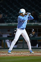 Earl Semper (16) of the North Carolina Tar Heels at bat against the Charlotte 49ers at BB&T BallPark on March 27, 2018 in Charlotte, North Carolina. The Tar Heels defeated the 49ers 14-2. (Brian Westerholt/Four Seam Images)