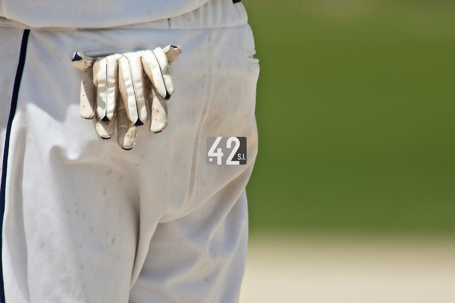 22 May 2009: Close view of a pair of gloves in a back pocket during the 2009 challenge de France, a tournament with the best French baseball teams - all eight elite league clubs - to determine a spot in the European Cup next year, at Montpellier, France. Senart wins 7-1 over Montpellier.
