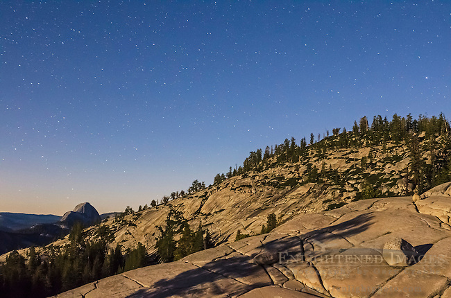 Night sky and stars over Half Dome from Olmsted Point, Yosemite National Park, California
