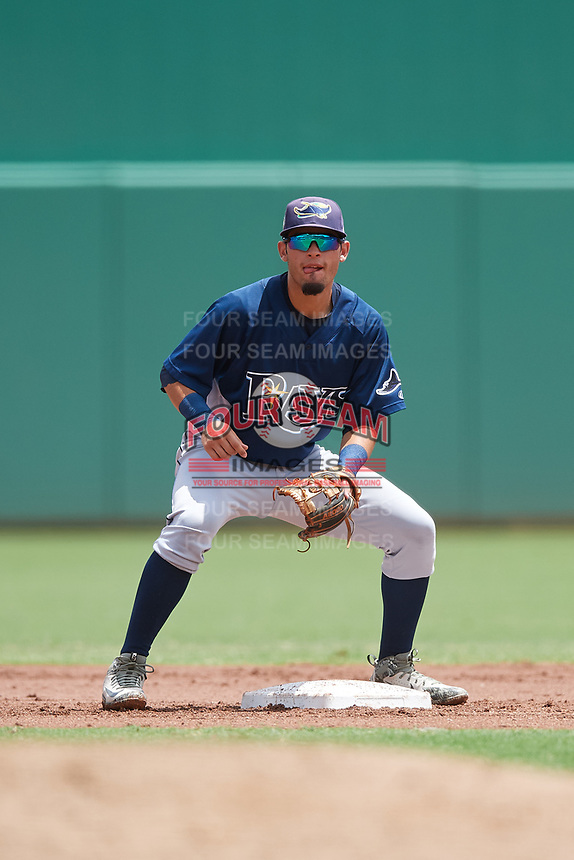 GCL Rays second baseman Cristhian Pedroza (19) waits to receive a throw from the catcher during a game against the GCL Red Sox on August 1, 2018 at JetBlue Park in Fort Myers, Florida.  GCL Red Sox defeated GCL Rays 5-1 in a rain shortened game.  (Mike Janes/Four Seam Images)