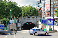 Trees in an urban environment, Mersey tunnel, Liverpool...Copyright..John Eveson, Dinkling Green Farm, Whitewell, Clitheroe, Lancashire. BB7 3BN.01995 61280. 07973 482705.j.r.eveson@btinternet.com.www.johneveson.com