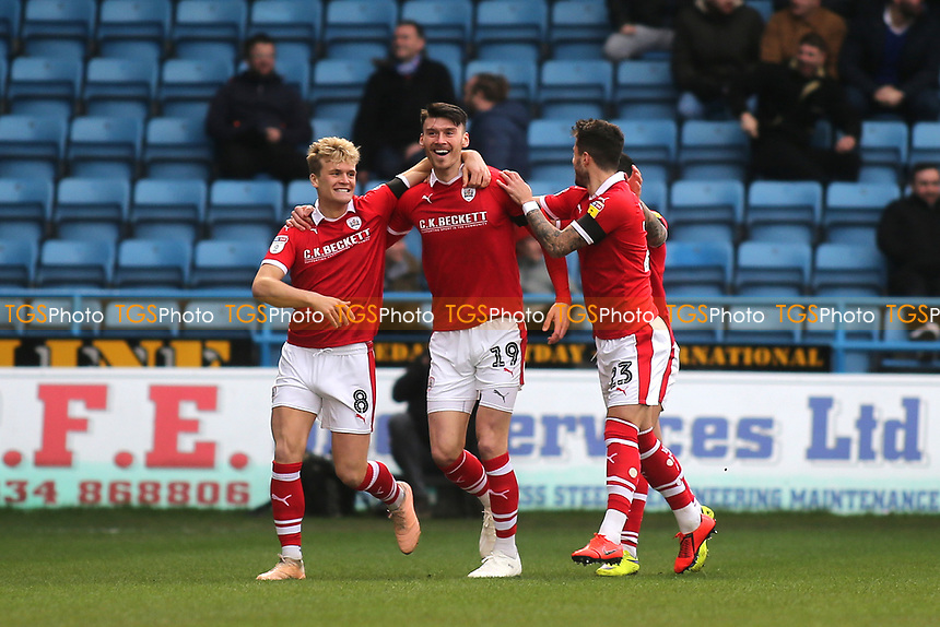 Kieffer Moore celebrates scoring Barnsley's opening goal with Cameron McGeehan and Dani Pinillos during Gillingham vs Barnsley, Sky Bet EFL League 1 Football at The Medway Priestfield Stadium on 9th February 2019