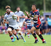 Tusi Pisi of Bristol Rugby passes the ball. Pre-season friendly match, between Bristol Rugby and Bath Rugby on August 12, 2017 at the Cribbs Causeway Ground in Bristol, England. Photo by: Patrick Khachfe / Onside Images