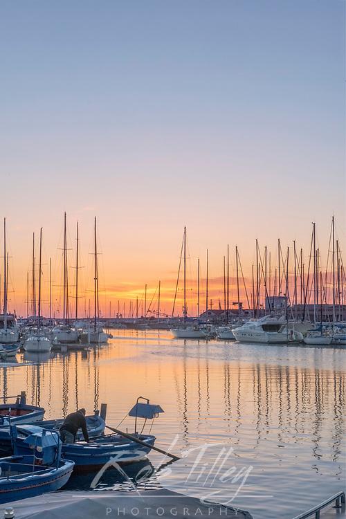 Europe, Italy, Sicily, Palermo, Marina Sunrise
