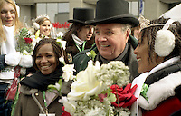 March 14 2004  Montreal, Quebec, Canada.<br /> <br /> Paul martin, Prime Minister, CANADA (L) and Tara Hecksher (R) , Half-irish and Half Nigerian Queen of the<br /> Saint-Patrick Day Parade in Montreal, March 14 2004<br /> <br /> <br /> Mandatory Credit: Photo by  Liam Maloney - Images Distribution. (&copy;) Copyright 2004 by Liam Maloney
