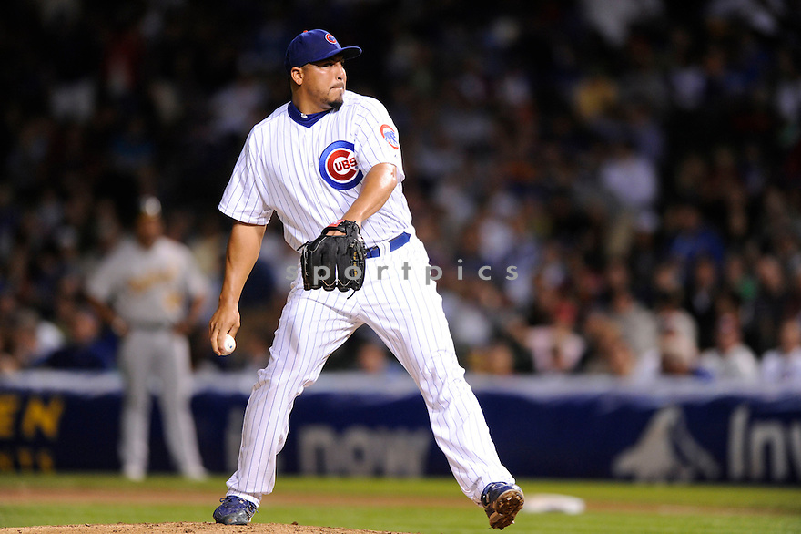 CARLOS ZAMBRANO,  of the Chicago Cubs  in action  during the Cubs game against the  Oakland A's .  The A's beat the Cubs 10-2 in Chicago, Illinois on June 15, 2010...DAVID DUROCHIK / SPORTPICS