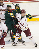 Brian Bowen (UVM - 9), Jesper Mattila (BC - 8) - The visiting University of Vermont Catamounts tied the Boston College Eagles 2-2 on Saturday, February 18, 2017, Boston College's senior night at Kelley Rink in Conte Forum in Chestnut Hill, Massachusetts.Vermont and BC tied 2-2 on Saturday, February 18, 2017, Boston College's senior night at Kelley Rink in Conte Forum in Chestnut Hill, Massachusetts.