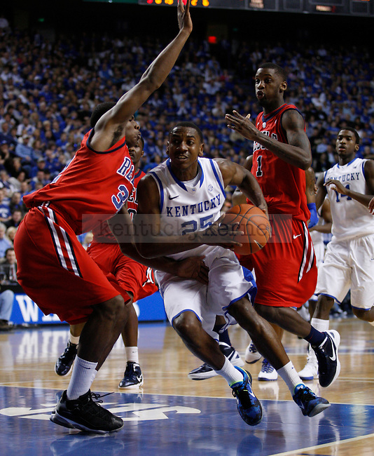 Freshman guard Marquis Teague drives the ball during the second half of the game against the University of Mississippi Rebels, in  Rupp Arena, on Saturday, Feb. 18, 2012. Kentucky won 77-62. Photo by Latara Appleby | Staff ..
