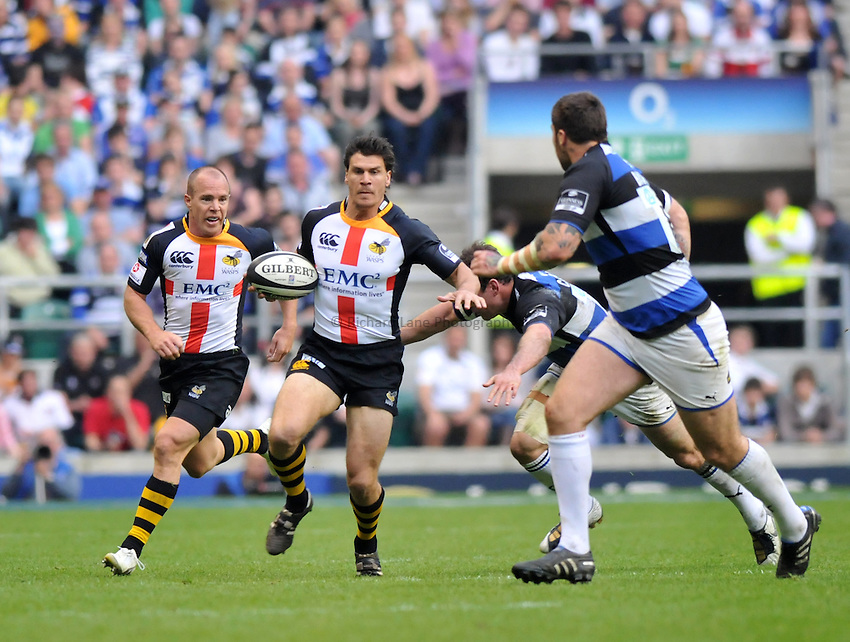 Photo: Tony Oudot/Richard Lane Photography. London Wasps v Bath Rugby. The St. George's Day Game. Guinness Premiership. 24/04/2010. .Ben Jacobs goes on a run for Wasps.
