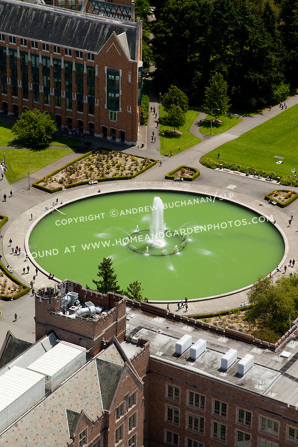 aerial photo of University of Washington's Drumheller Fountain, Electrical Engineering Bldg. and the Paul G. Allen Ctr. for Computer Science and Engineering; Seattle, WA