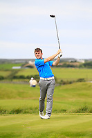 Chris Carroll (Shandon Park) on the 14th tee during Round 3 of The South of Ireland in Lahinch Golf Club on Monday 28th July 2014.<br /> Picture:  Thos Caffrey / www.golffile.ie