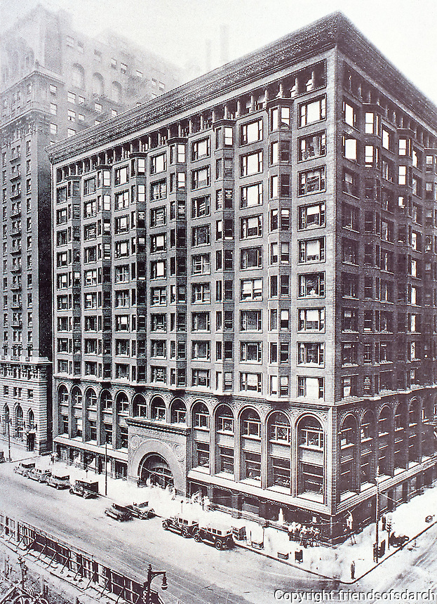 Adler & Sullivan: Old  Chicago Stock Exchange, 1893-94.  Demolished in 1972  but the original trading floor and main entrance can now be found at the Art Institute of Chicago. The code changed so Chicago windows replaced bay windows, giving more light.