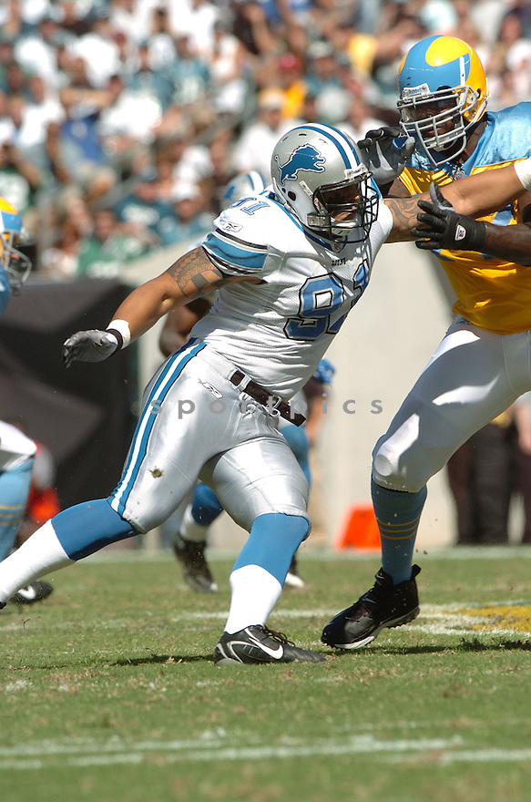 IKAIKA ALAMA-FRANCIS, of the Detroit Lions, in action during the LIons games against the Philadelphia Eagles, in Philadelphia, PA on September 23, 2007.  The Eagles won the game 56-21...........