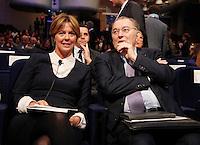 Beatrice Lorenzin, Ministro della Salute, e Giorgio Squinzi, presidente di Confindustria, interviene durante il XXIX convegno di Capri per Napoli   dei  Giovani Industriali a Citta della Scienza , 25 Ottobre 2014