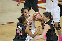 LOS ANGELES, CA - February 15, 2013:  Stanford's Alex Green and Sara James during the Cardinal's game against USC.   Stanford defeated USC, 79-55.