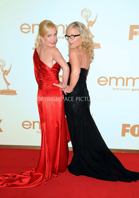 WWW.ACEPIXS.COM . . . . .  ....September 18 2011, LA....Angela Kinsey and Rachael Harris arriving at the 63rd Annual Primetime Emmy Awards held at Nokia Theatre L.A. LIVE on September 18, 2011 in Los Angeles, California....Please byline: PETER WEST - ACE PICTURES.... *** ***..Ace Pictures, Inc:  ..Philip Vaughan (212) 243-8787 or (646) 679 0430..e-mail: info@acepixs.com..web: http://www.acepixs.com