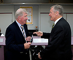 John Greig and Billy McNeill meet up at Glasgow airport as both Rangers and Celtic leave on European trips at the same time